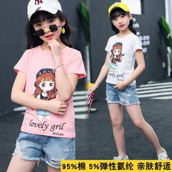 女童t恤短袖夏装新款宝宝打底衫中大童卡通半袖上衣儿童体恤