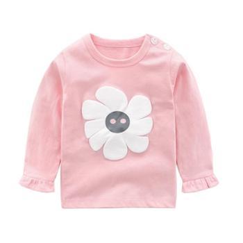 女宝宝纯棉长袖T恤春秋打底衫上衣女童0岁1秋装3婴儿秋衣男童儿童