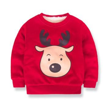 童装秋冬洋气儿童卫衣男童女童加绒加厚上衣宝宝套头潮衫