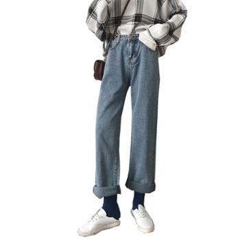 牛仔裤女秋冬高腰直筒宽松韩版显瘦加绒阔腿老爹裤子