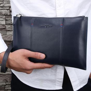 卓梵 阿玛尼手包男士手抓包手拿包大容量牛皮真皮男包软皮