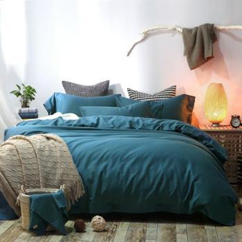 天丝棉麻四件套 纯色长绒棉天丝麻盘扣款 舒爽床上用品