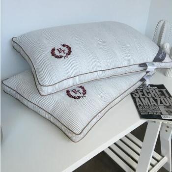英伦立体刺绣抗菌水洗枕芯全棉羽丝绒棉代尔健康枕头芯