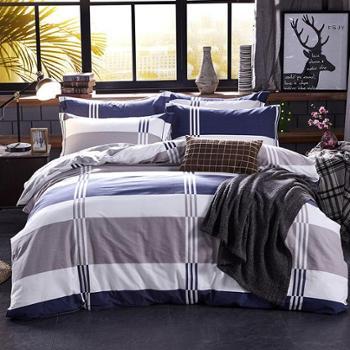 四件套秋冬保暖磨毛四件套清新简约床单式双人床四件套床上用品