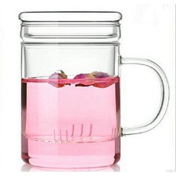 耐热玻璃杯 带盖 过滤杯 花茶 平盖 泡茶 办公杯