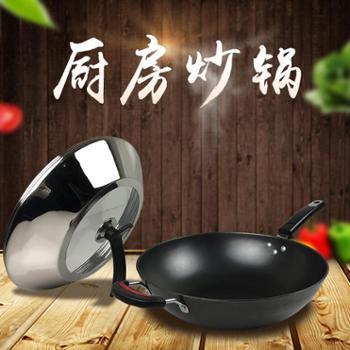 喀斯特加厚真不锈铸铁锅无涂层不粘锅生铁锅可立盖可视盖