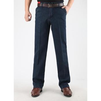 Aeroline男式中老年爸爸装高腰直筒厚牛仔长裤