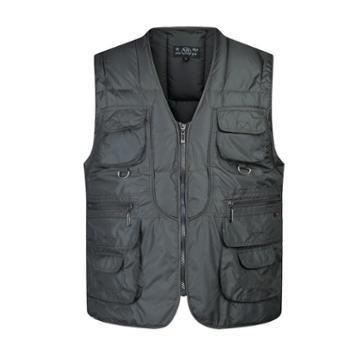 Aeroline冬季男式中老年爸爸装时尚户外休闲多口袋V领棉马甲