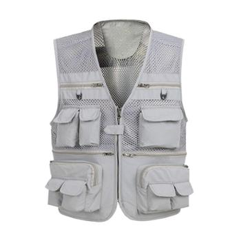 Aeroline夏季男式中老年爸爸装户外休闲多口袋网眼马甲