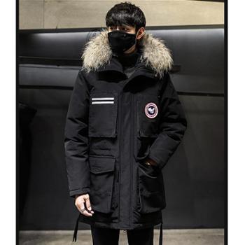 Aeroline冬季新款韩版加厚男士羽绒服真毛领白鸭绒长款过膝