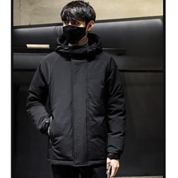 Aeroline冬季新款韩版加厚男士羽绒服连帽白鸭绒保暖外套