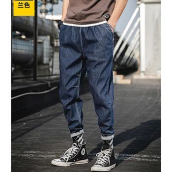 Aeroline夏季薄款浅色牛仔裤男修身小脚工装裤男中腰青少年牛仔裤