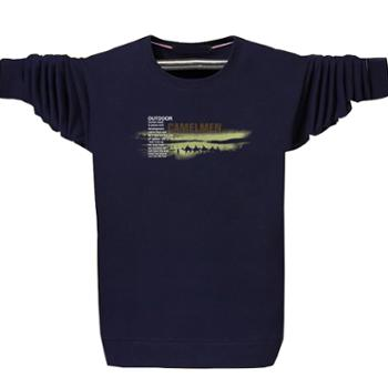 Aeroline早春新款时尚舒适长袖T恤男装印花圆领大码潮流青年上衣