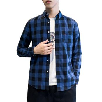 Aeroline长袖衬衫男修身格子纯棉带口袋衬衣