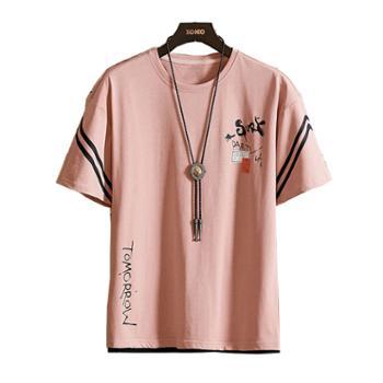 Aeroline 夏季短袖男圆领纯棉T恤微弹上衣
