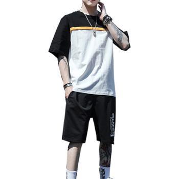 Aeroline夏季男士圆领短袖宽松薄款上衣五分短裤套装