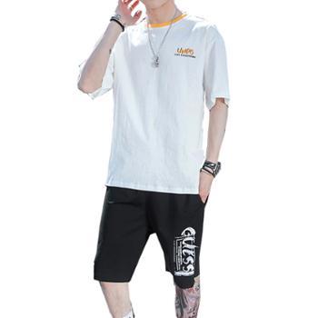 Aeroline夏季男士圆领短袖t恤五分裤运动套装