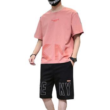 柏誉/Aeroline 男士运动套装 夏季男士短袖t恤休闲五分裤运动套装