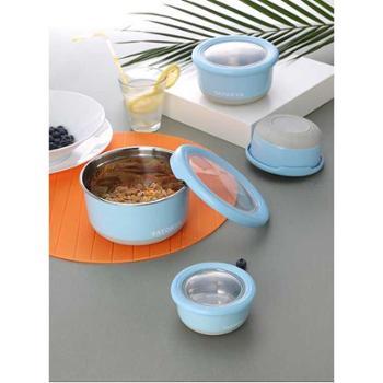 多样屋 缤纷蓝圆形不锈钢保鲜盒TA010302004ZZ