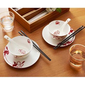 多样屋 盛世牡丹骨瓷餐具8件礼盒TA030102007ZZ