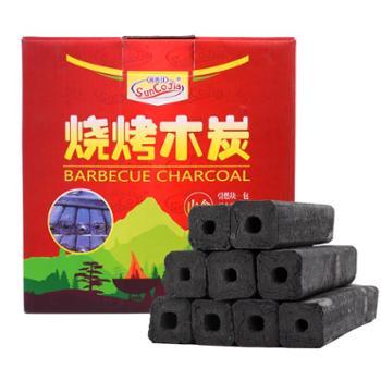 尚烤佳烧烤炭环保无烟烧烤果木炭机制木炭条形空心炭烧烤燃料3斤内含引火块