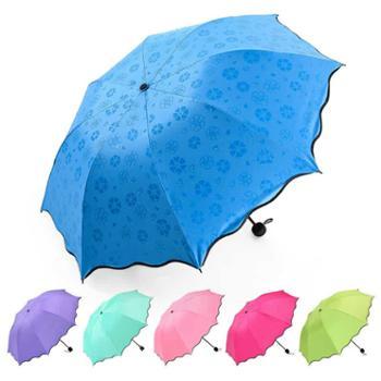 遇水开花雨伞黑胶遮阳伞防晒紫外线太阳伞