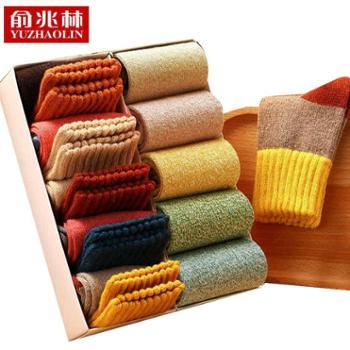 秋冬袜子中筒袜男袜女袜羊毛袜10双