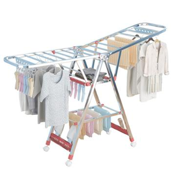 不锈钢晾衣架落地折叠室内家用阳台衣服架子