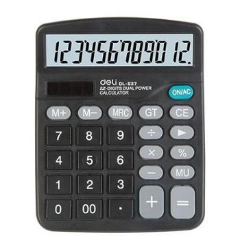 得力计算器837经济型太阳能双电源商务财务专用办公用品837ES