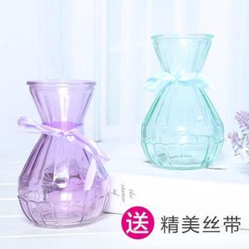 百合彩色透明水晶玻璃花瓶插花水培绿萝小口单支玫瑰欧式现代简约