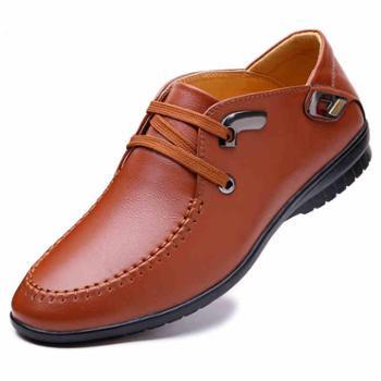 休闲皮鞋男士夏季韩版商务潮鞋男青年系带板鞋圆头英伦透气男鞋子
