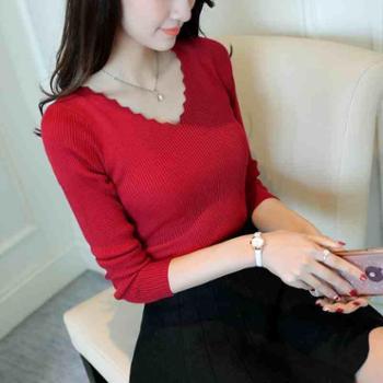 2017新款女装V领弹力针织套头打底衫显瘦修身长袖毛衣上衣潮