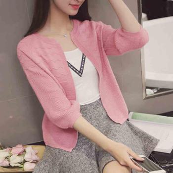 秋季新款女装韩版上衣宽松短款毛衣外套针织衫薄开衫空调衫防晒衣