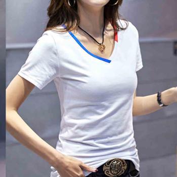 夏季宽松百搭学生纯棉白色短袖t恤女韩范半袖显瘦打底衫体恤上衣