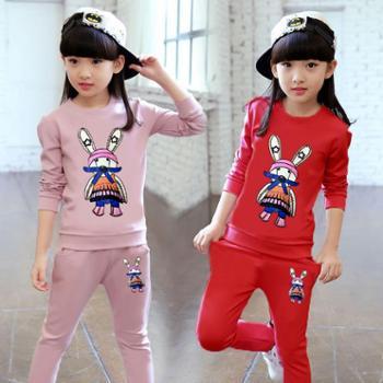 女童秋款套装新款韩版中大儿童时髦卫衣女孩两件套运动服潮衣