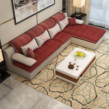 美式布艺沙发组合现代简约大小户型家具可拆洗转角布沙发