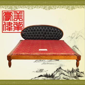 豪美木易硬木家具 黑皮软包大床