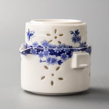生活用品青花陶瓷快客杯一壶 办公室功夫茶具套装 旅行茶具