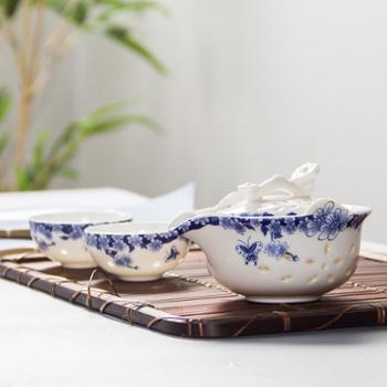 生活用品陶瓷玲珑茶具套装镂空快客杯一壶一杯旅行便携带茶盘