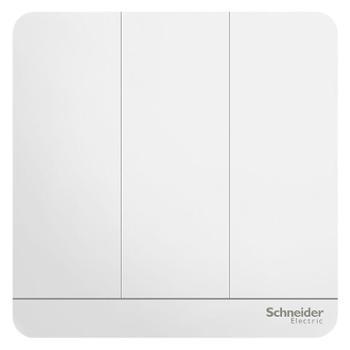 施耐德(Schneider)开关插座开关面板三开双控开关16A绎尚系列镜瓷白色