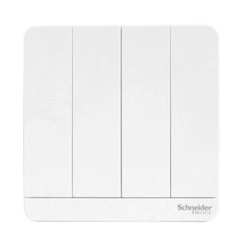施耐德(Schneider)开关插座开关面板四开双控开关16A绎尚系列镜瓷白色