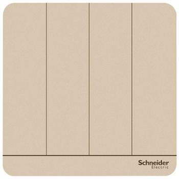 施耐德(Schneider)开关插座开关面板四开双控开关16A绎尚系列薄暮金色