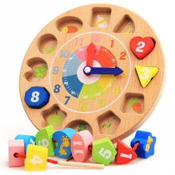 宝贝兄弟木质制儿童认知数字形状时钟