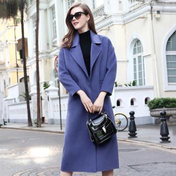 AVYON时尚高端女装韩版加长款修身双面羊绒大衣纯色双面呢外套