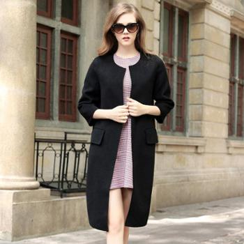 AVYON冬季羊毛呢子大衣高端手工双面羊绒大衣女新款女士毛呢外套女