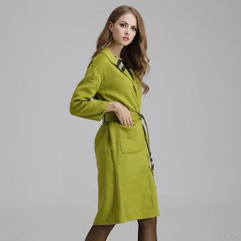 AVYON欧洲高端女装收腰修身中长款双面绒大衣羊毛呢外套