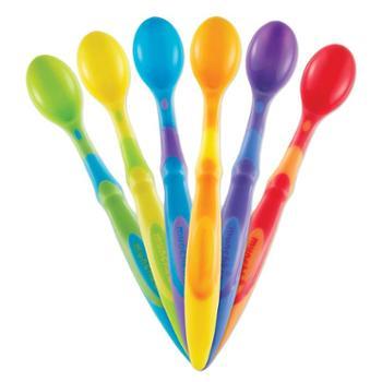 美国munchkin麦肯齐彩色宝宝长柄勺辅食勺6只光彩全球