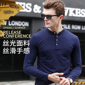 大江大河G-RIVER宽松直筒大码弹力丝光棉T恤衫男长袖polo衫中年爸爸装