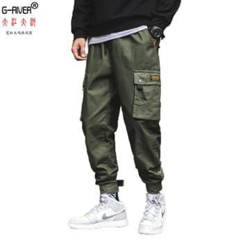 大江大河G-RIVER宽松大裆全棉男裤子多袋裤系带哈伦裤