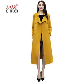 G-RIVER大江大河秋装新款欧韩时尚超高密空气层中长款过膝风衣外套